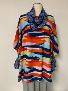 602 poncho with removable scarf