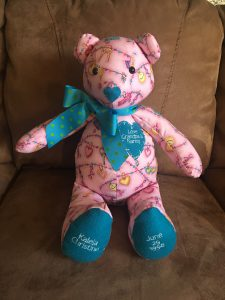 pink and teal bear